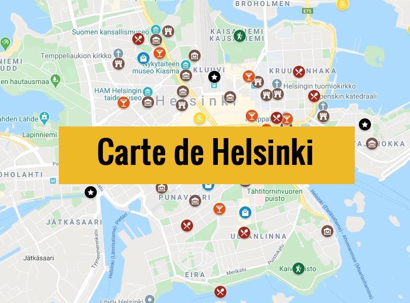 Carte de Helsinki (Finlande) avec tous les lieux du guide touristique.