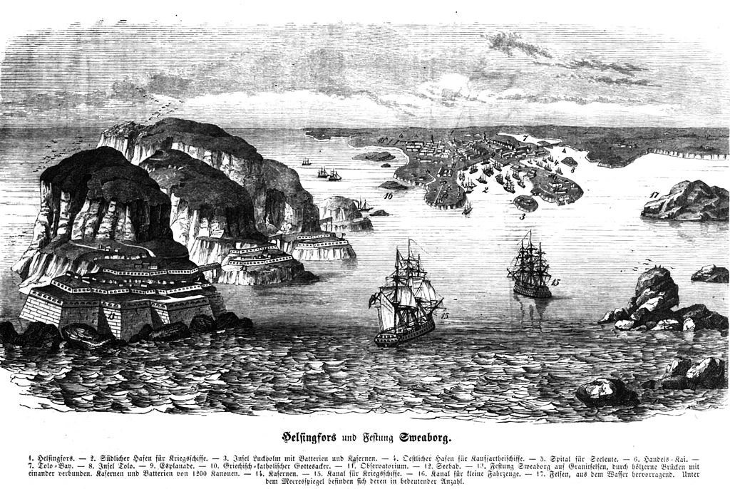 Représentation légèrement fantasmagorique des îles forteresse au sud d'Helsinki en 1854.