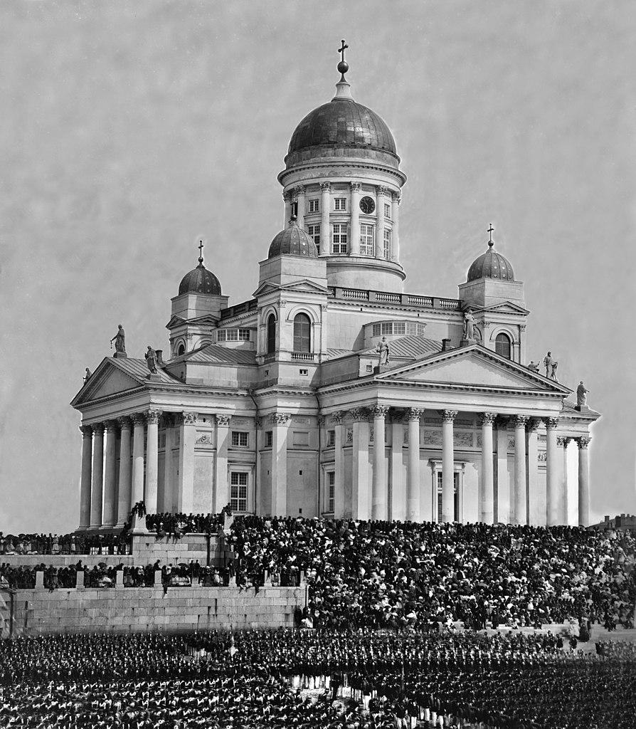Cathédrale luthérienne d'Helsinki en 1863 lors de la visite du Tsar Alexandre II.