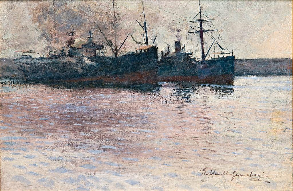 """""""Bateaux dans le port de Livorno"""" de raffaello Gambogi au Musée d'art Didrichsen à Helsinki"""