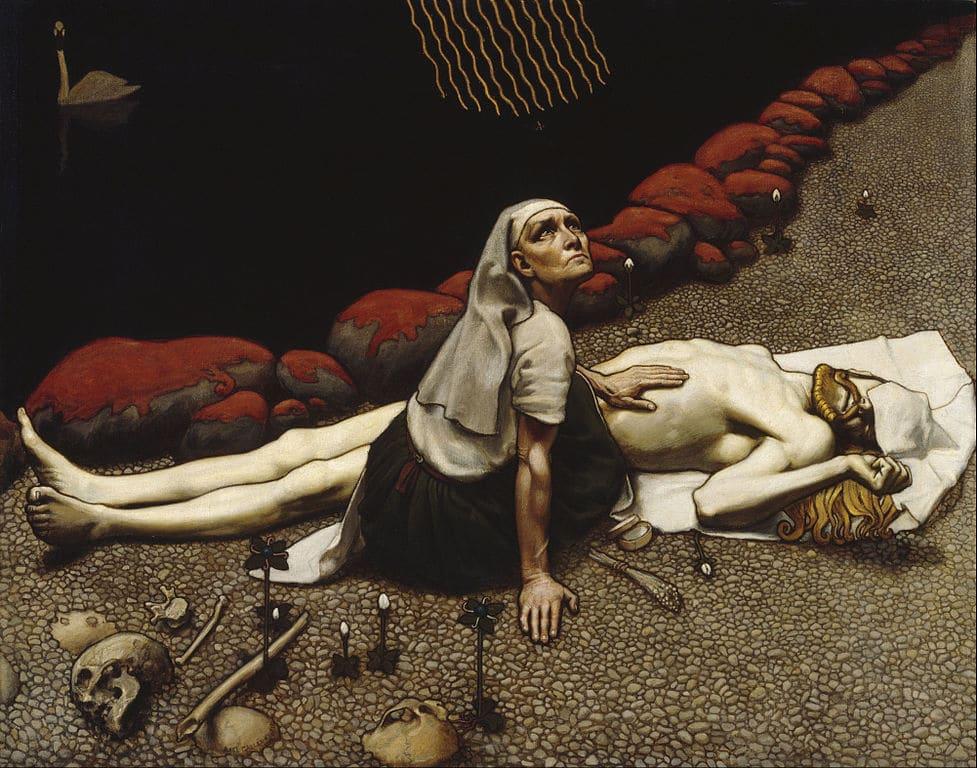 """""""Mère de Lemminkäinens"""" (1897) d'Akseli Gallen Kallela au Musée Ateneum à Helsinki."""