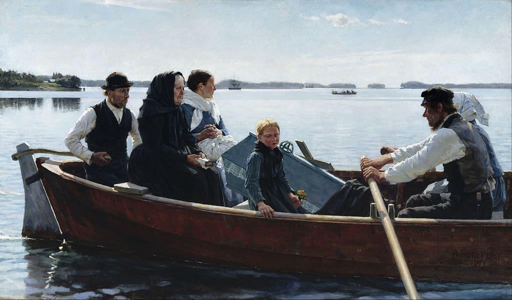 """""""Transportant un cercueil d'enfant"""" (1879) d'Albert Edelfelt au Musée Ateneum à Helsinki."""