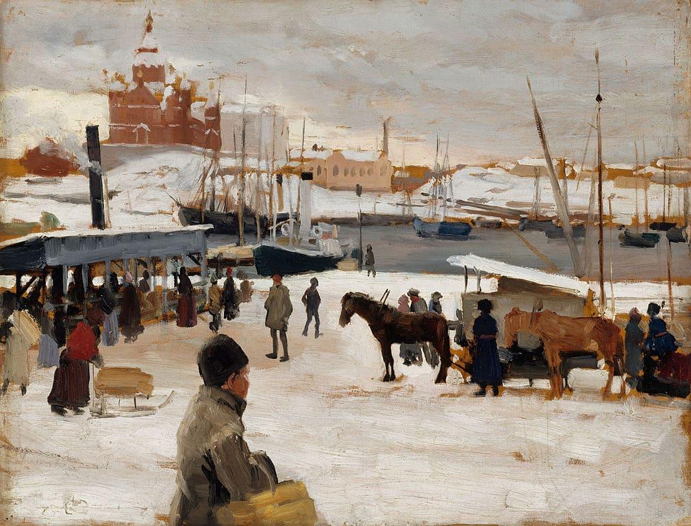 Dans le port d'Helsinki par Albert Edelfelt (1889) au Musée Ateneum à Helsinki.