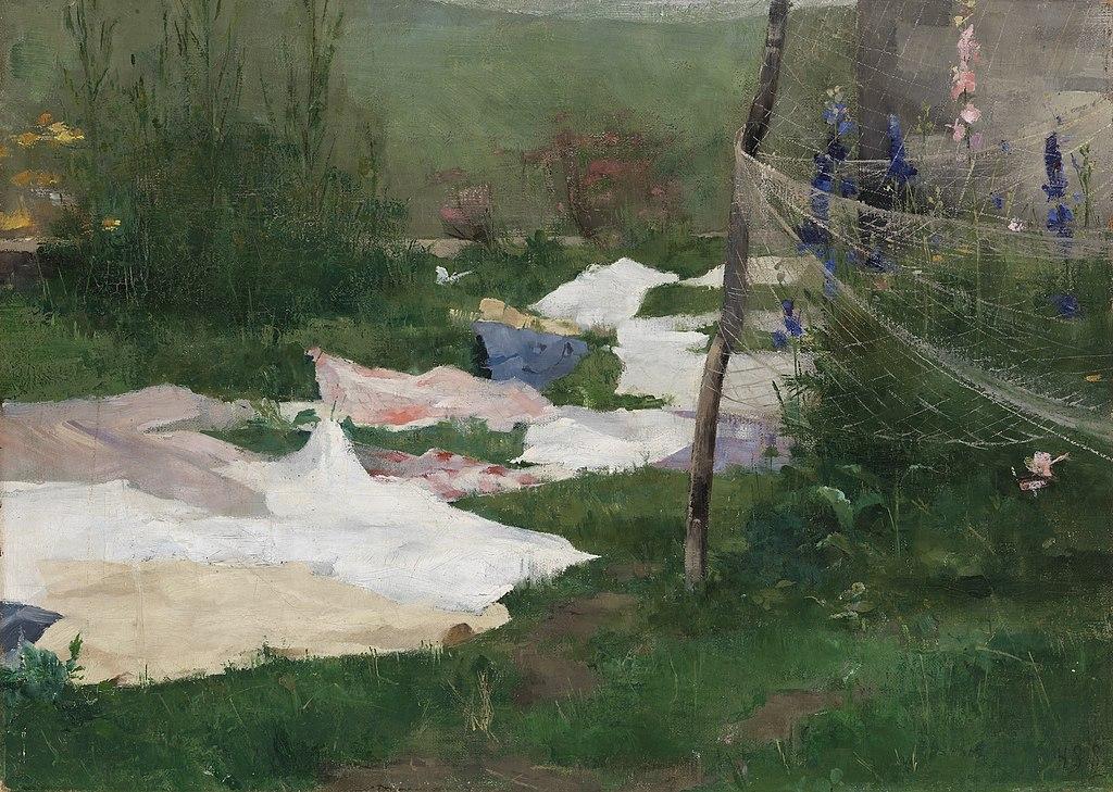 """Linge en train de sécher"" (1883) de Helene Schjerfbeck au Musée Ateneum à Helsinki."