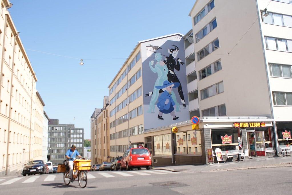 Street Art à Helsinki : Zig Zag de l'espace.