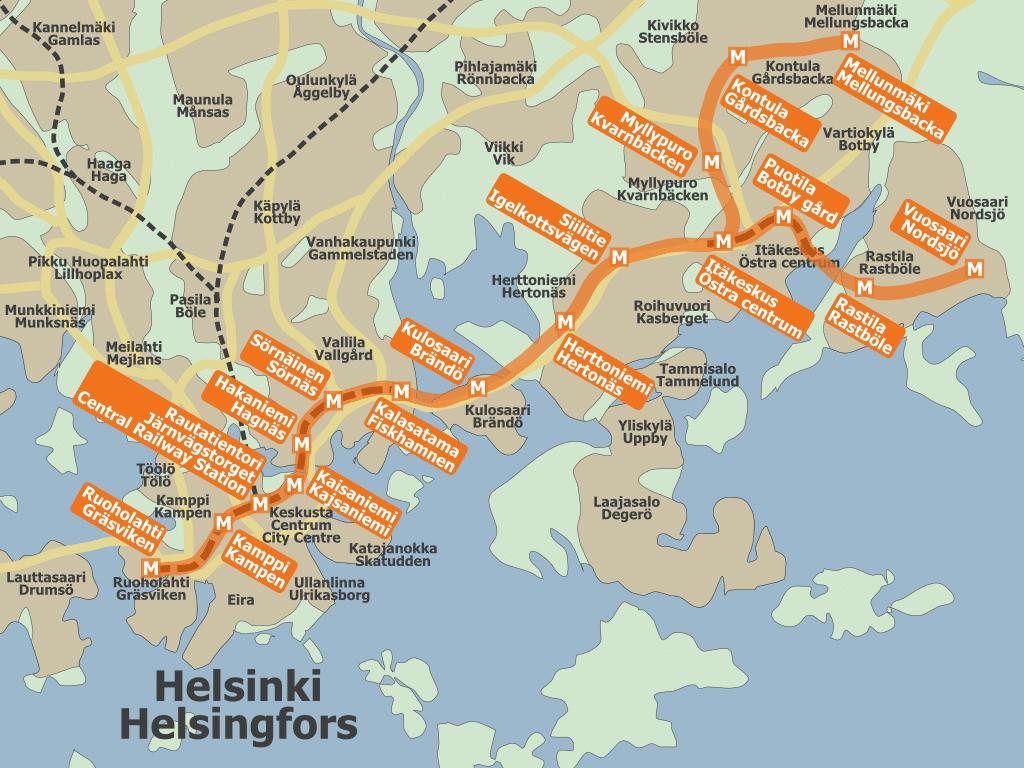 Transport en commun à Helsinki : Carte du réseau de métro.