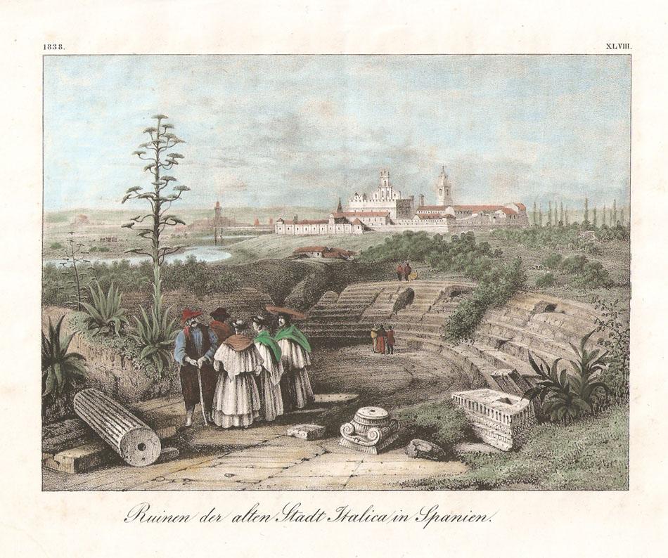 Illustration d'Itálica près de Séville sur la route du Grand Tour romantique en Espagne.