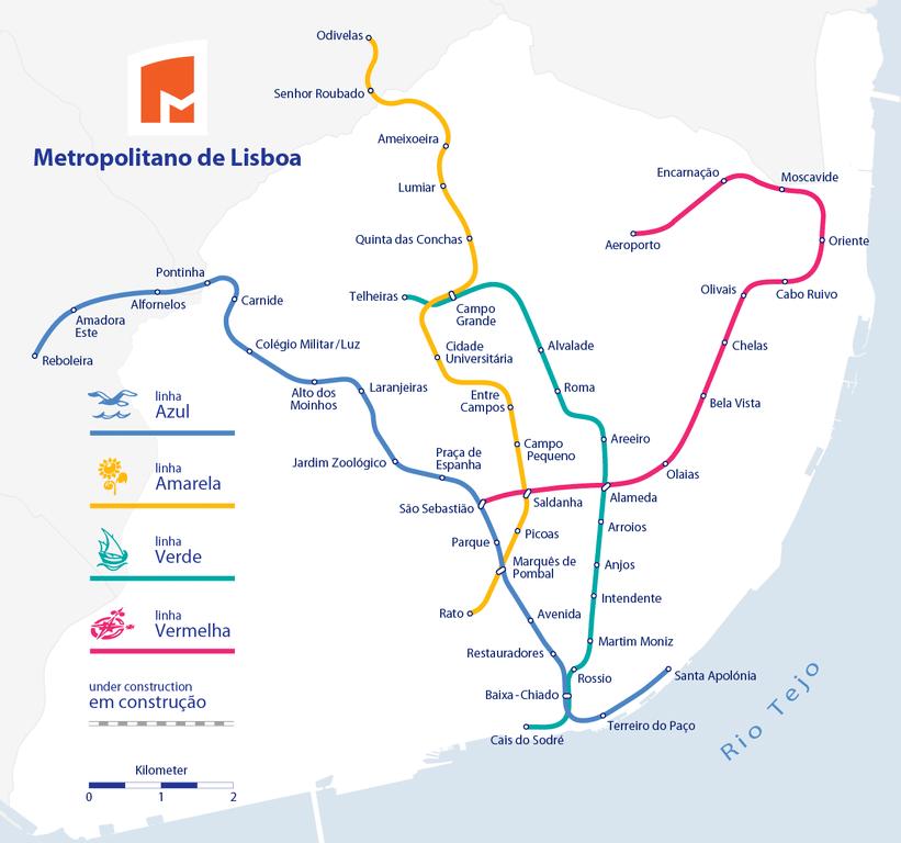 Carte du métro de Lisbonne.