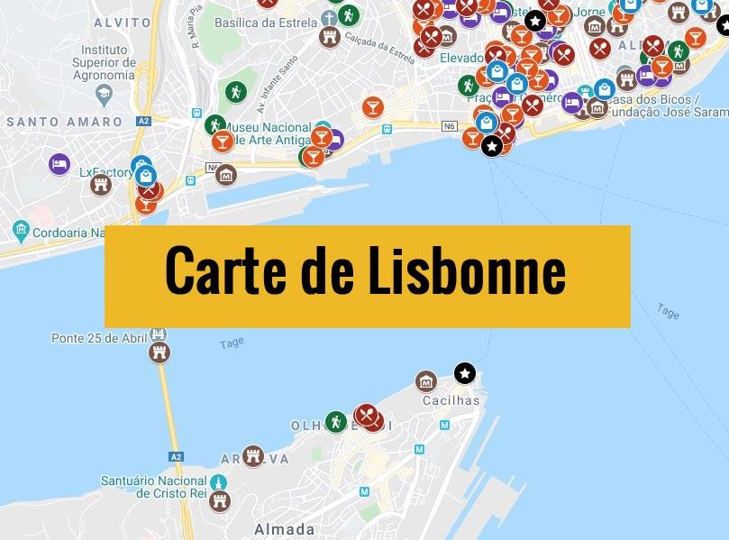 Carte de Lisbonne (Portugal) avec tous les lieux du guide touristique.