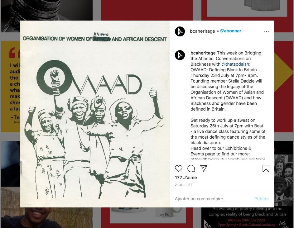 Image du compte IG de Black cultural archives à Brixton, Londres.