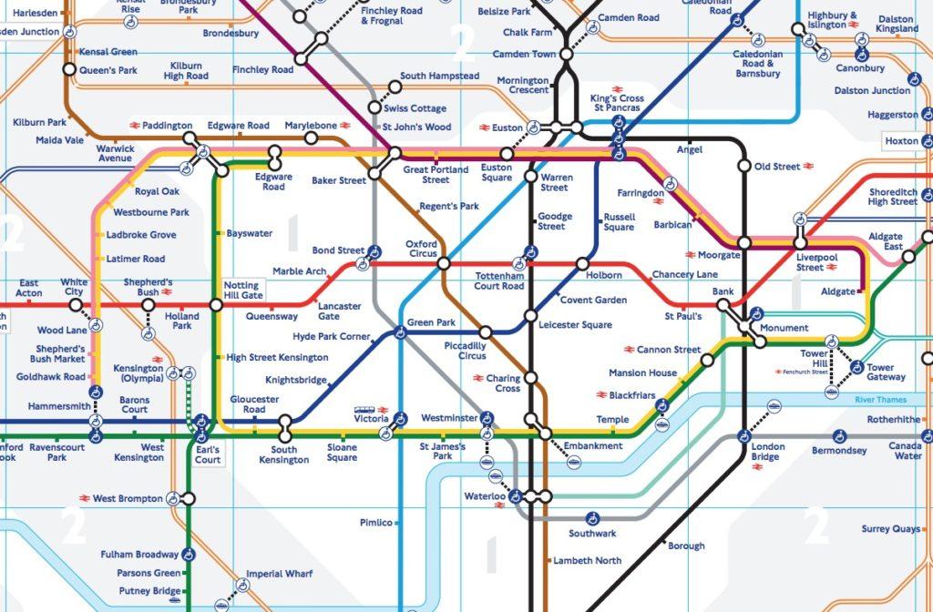 Carte du metro de Londres : Partie centrale.