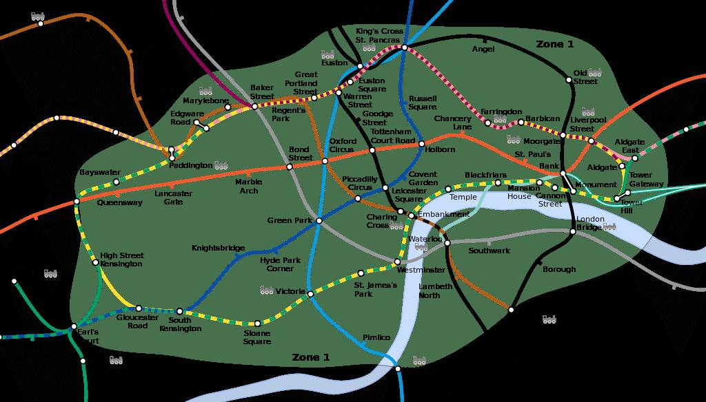 Carte de la Zone 1 du métro à Londres.