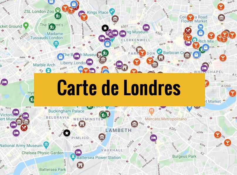 Carte de Londres (Angleterre) avec tous les lieux du guide touristique.