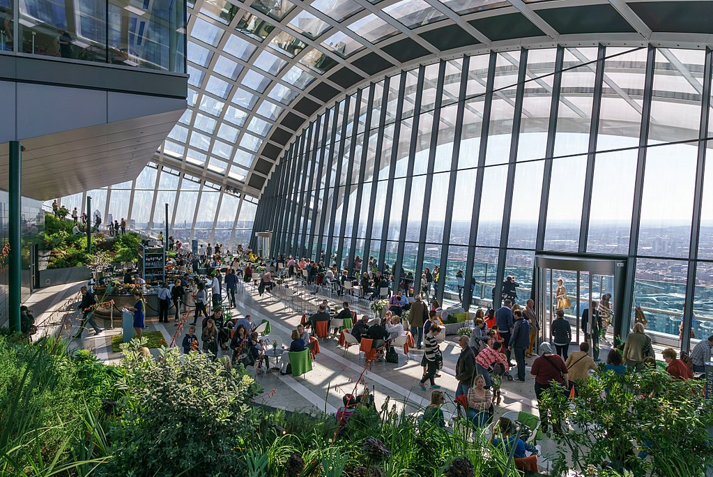 Vue panoramique sur Londres depuis le Sky Garden dans la City - Photo de User Colin - Wikimedia Commons CC BY SA 4.0