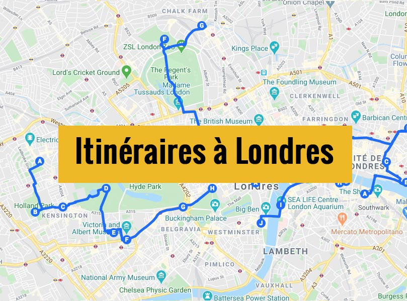 Itinéraires détaillés pour visiter Londres (Angleterre) en 2, 3 jours ou plus.