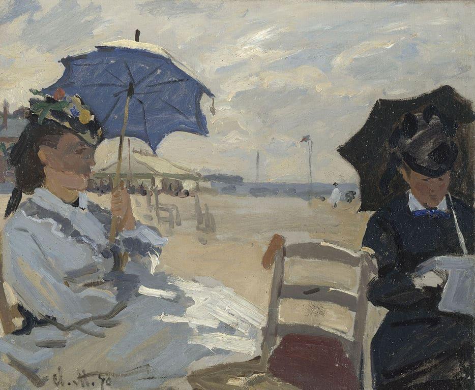 """""""Plage de Trouville"""" de Claude Monet dans la National Gallery de Londres sur Trafalgar square."""