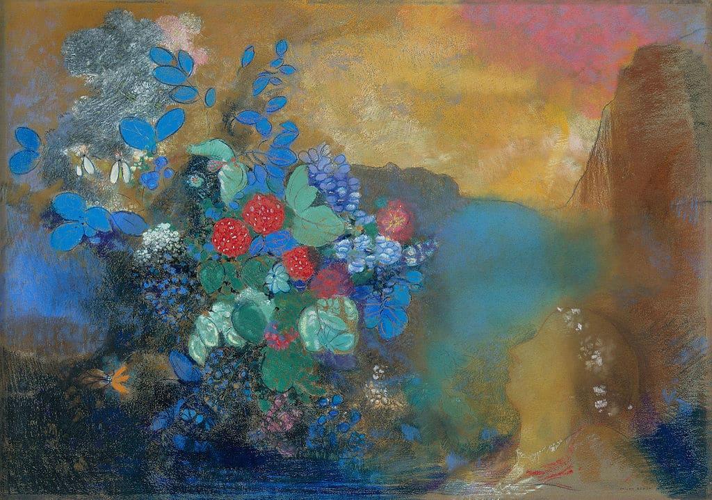 """""""Ophélie avec les fleurs"""" d'Odilon Redon à la National Gallery de Londres."""