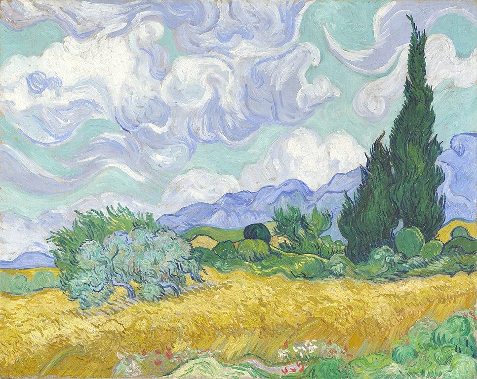 """""""Champ de blé avec cypres"""" de van Gogh dans la National Gallery de Londres sur Trafalgar square."""