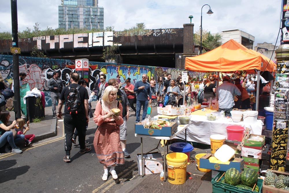 Visiter Londres - Ici sur le marché à Shoreditch