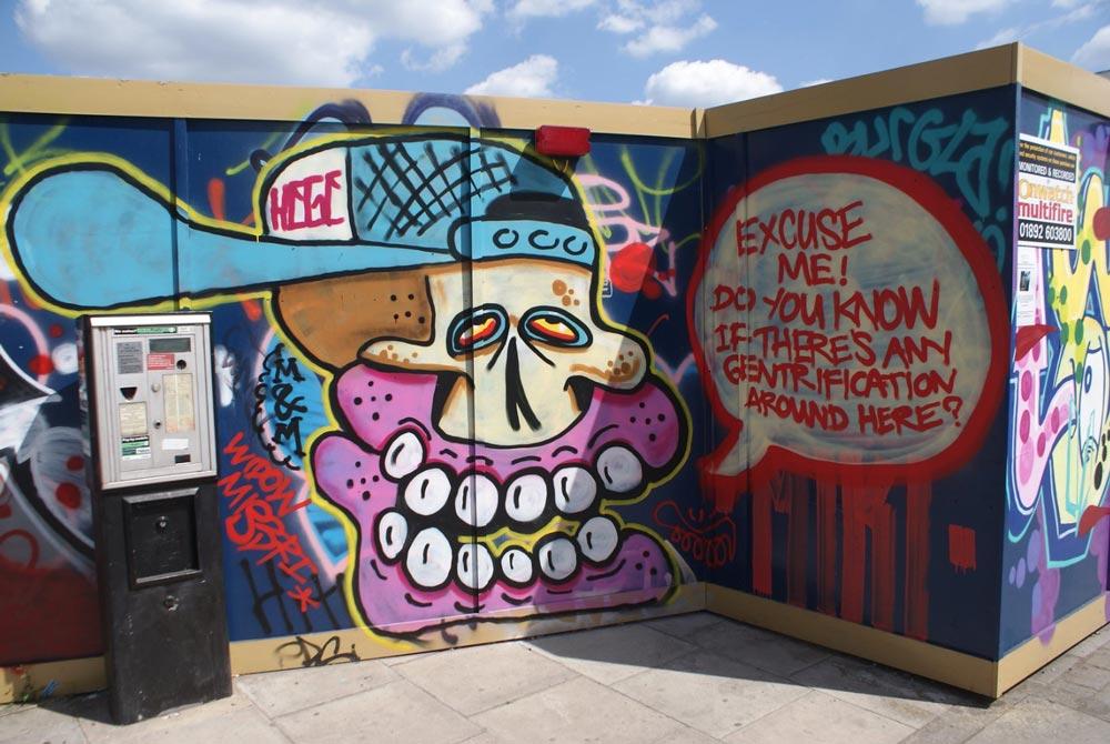 Street art dans le quartier de Hackney Wick à Londres.