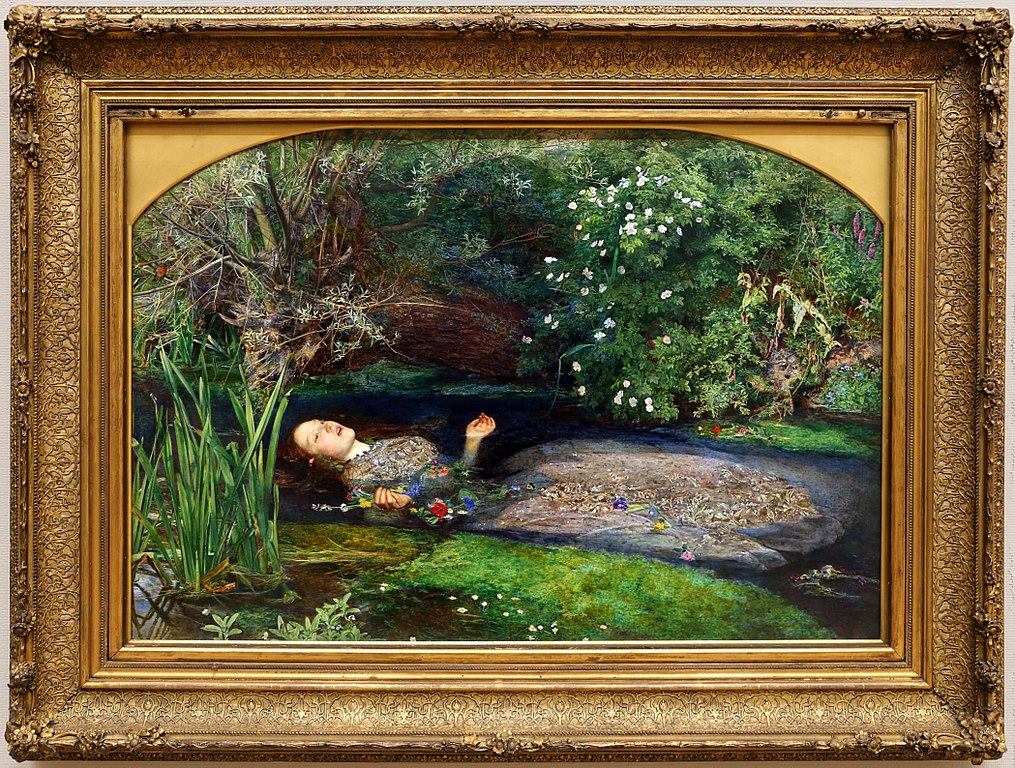 """Ophelia"" (1852), toile de John Everett Milais à la Tate Britain dans le quartier de Westminster à Londres - Photo de Sailko"