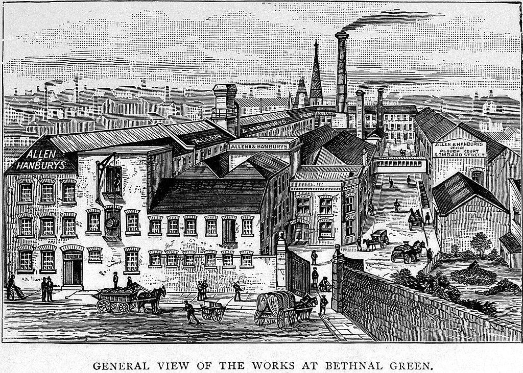 Vue sur le quartier de Bethnal green et ses usines en 1892 à Londres.