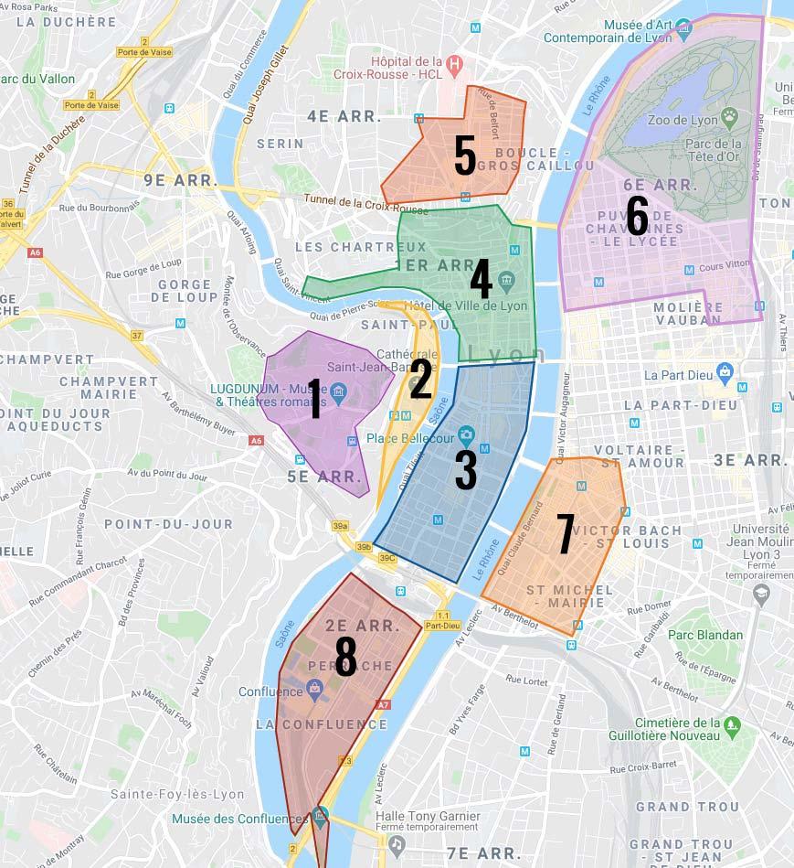 Carte des quartiers de Lyon.