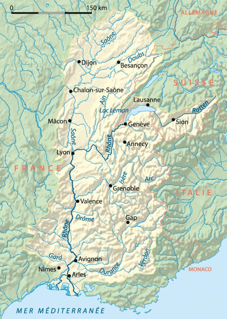 Carte du bassin versant du fleuve Rhône. Image de NordNordWest
