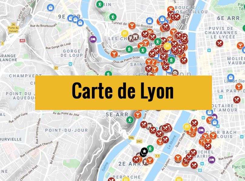 Carte de Lyon avec tous les lieux du guide.