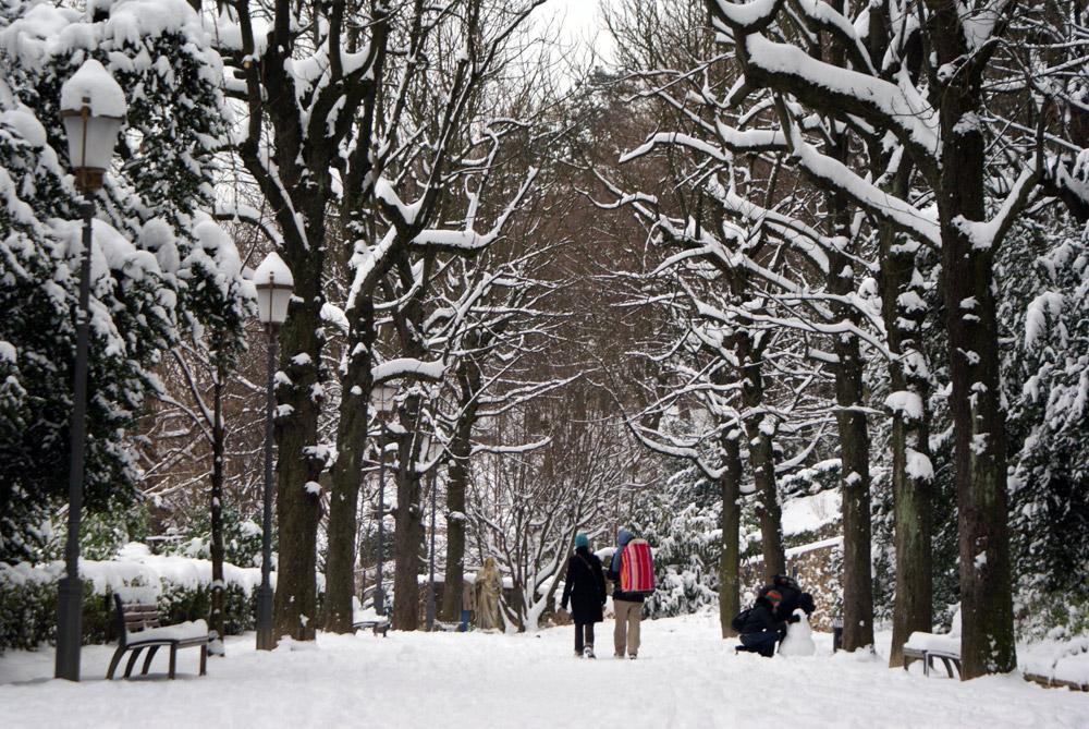 Ambiance hivernale dans le Jardin du Rosaire dans le quartier de Fourvière à Lyon.