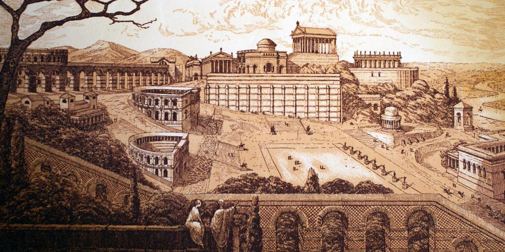 Illustration d'un possible Lyon antique : Lugdunum avec son théâtre et son odéon à Fourvière.