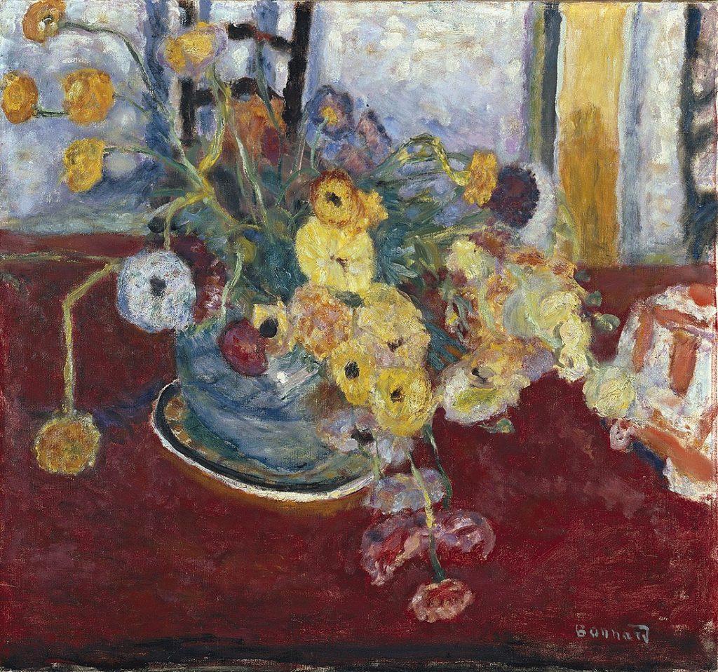 """""""Fleurs sur un tapis rouge"""" de Pierre Bonnard (1928) au Musée des Beaux Arts de Lyon."""