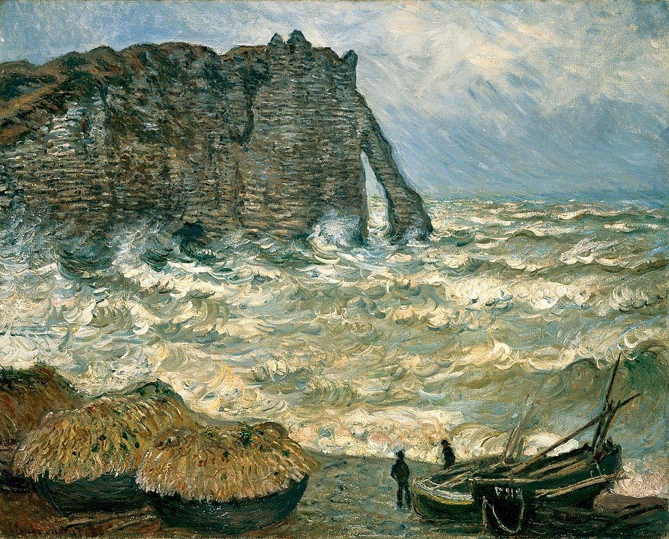 """""""Mer agitée à Etretat"""" de Monet (1883) au Musée des Beaux Arts de Lyon."""