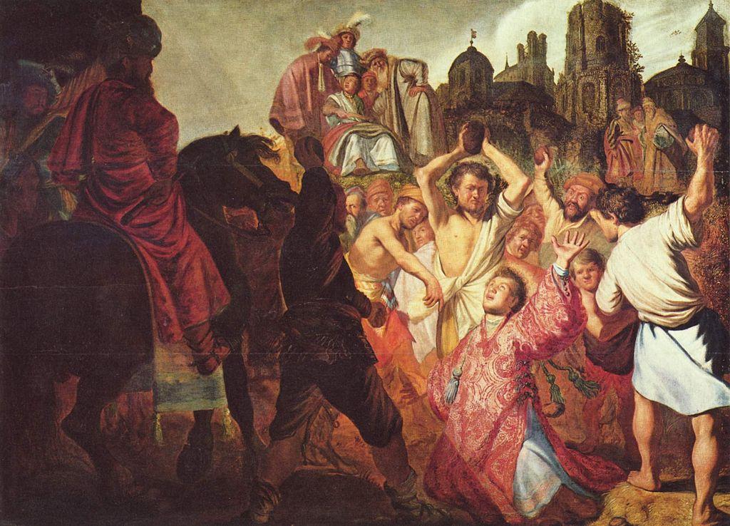 """""""Lapidation de Saint Stéphane"""" par Rembrandt (1625) au Musée des Beaux Arts de Lyon."""