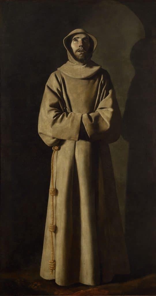 """""""Saint François d'Assisse"""" par Zurbaran (1645) au Musée des Beaux Arts de Lyon."""