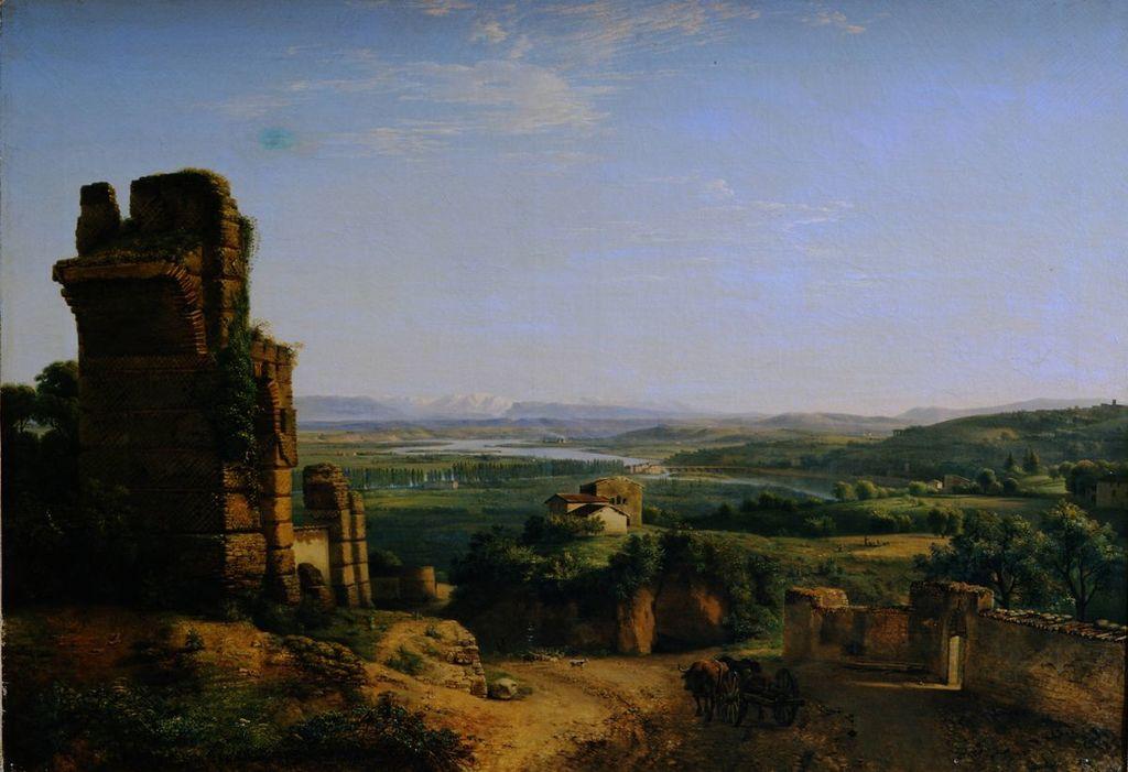 """""""Vue des aqueducs romains sur les hauteurs de Sainte-Just"""" par Jean-Michel Grobon (1806) au Musée des Beaux Arts de Lyon."""