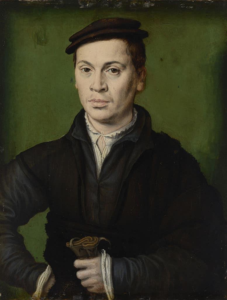 """""""Homme au beret noir"""" de Corneille de Lyon (1580) au Musée des Beaux Arts de Lyon."""