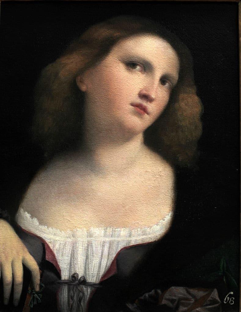 Portrait de femme par Palma Vecchio (1512) au Musée des Beaux Arts de Lyon.