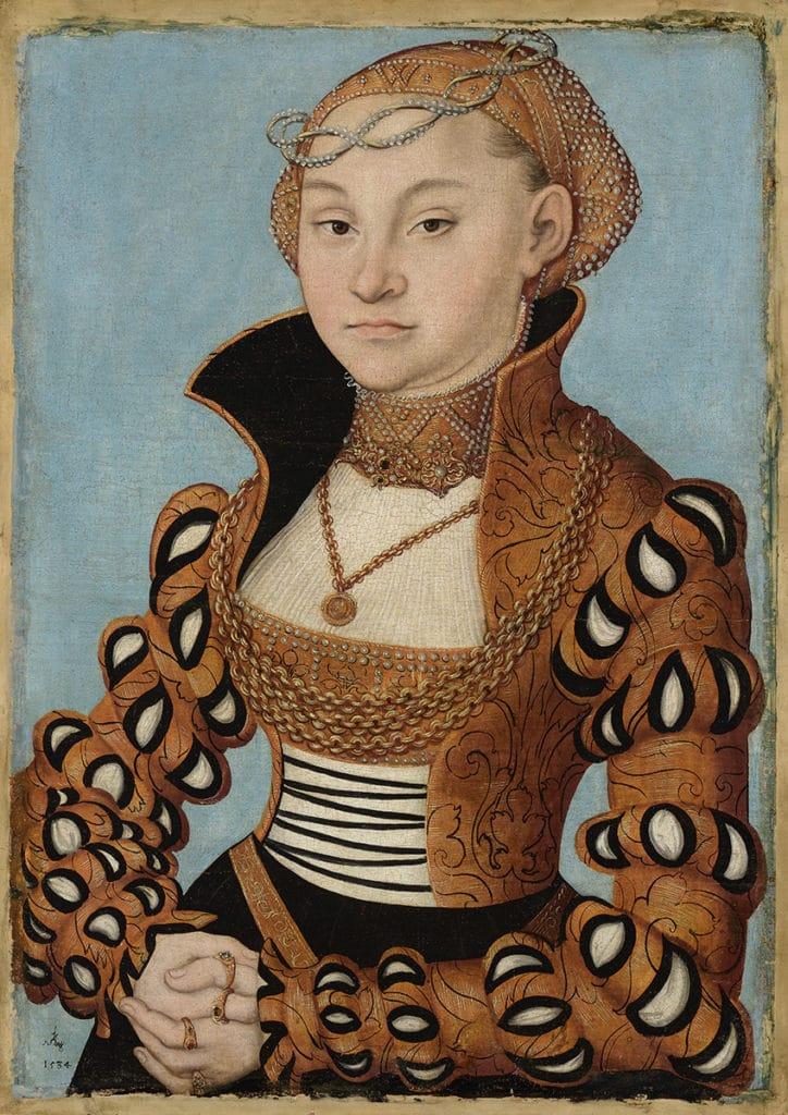 Portrait de noble saxonne par Cranach l'ancien (1534) au Musée des Beaux Arts de Lyon.