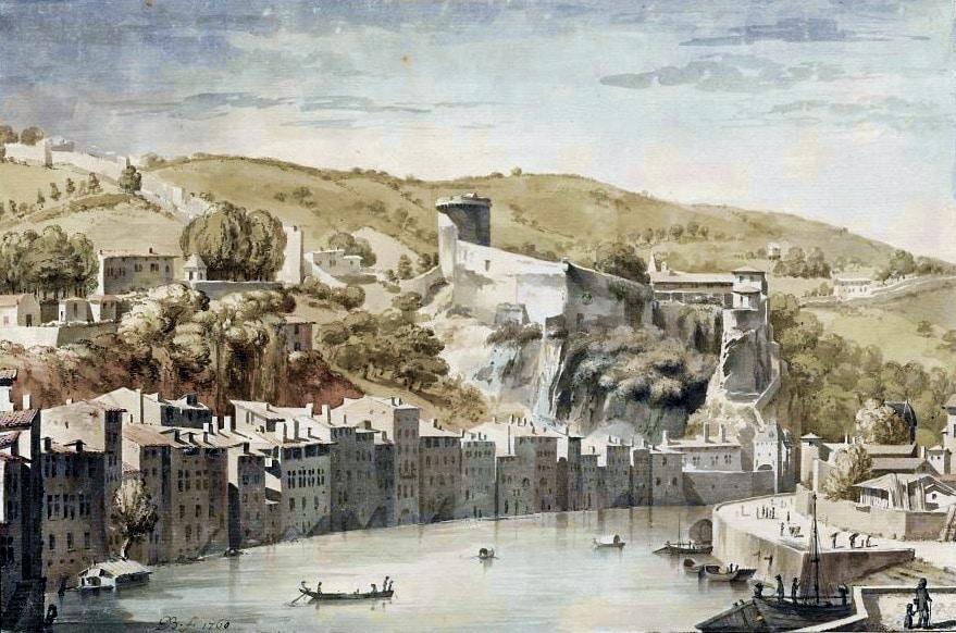 Vue sur la Saône et le Château Pierre de Scize à Lyon aujourd'hui disparu. Toile de Boissieu
