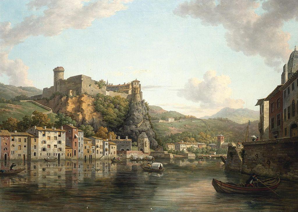 Vue sur la Saône et le Château Pierre de Scize à Lyon aujourd'hui disparu. Toile de William Marlow