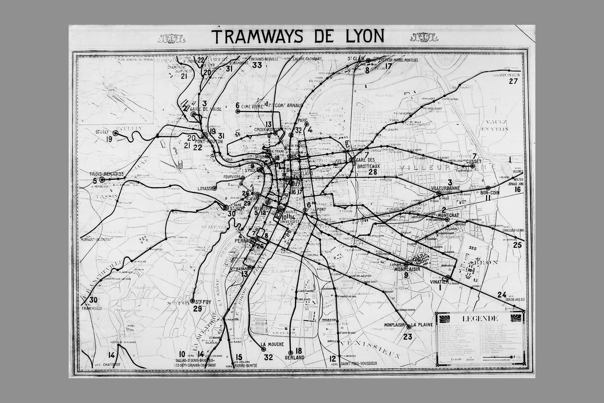 Reseau de tramway à Lyon en 1894
