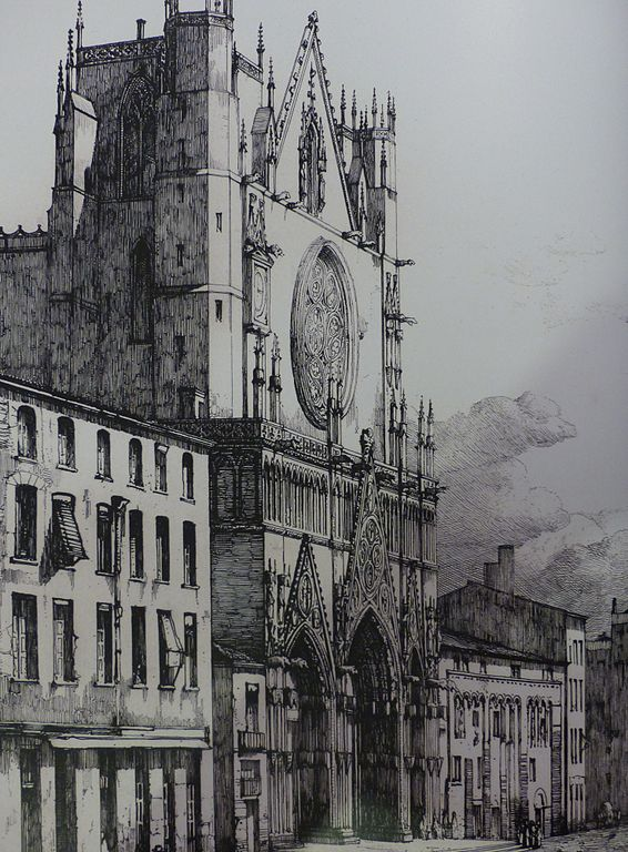 Façade de la Cathédrale de Saint Jean à Lyon vers 1840 par H.Leymarie