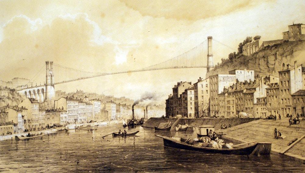 Projet de Lehaitre d'un pont suspendu entre les collines de Croix Rousse et de Fourvière à Lyon. Expo du Musée Gadagne dans le Vieux Lyon.