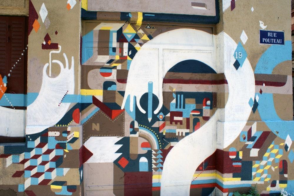 Street art dans le quartier des pentes de la Croix Rousse à Lyon.
