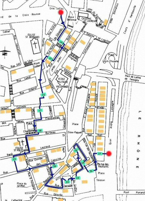 Parcours possible à travers les traboules de Croix Rousse (ouest) à Lyon.