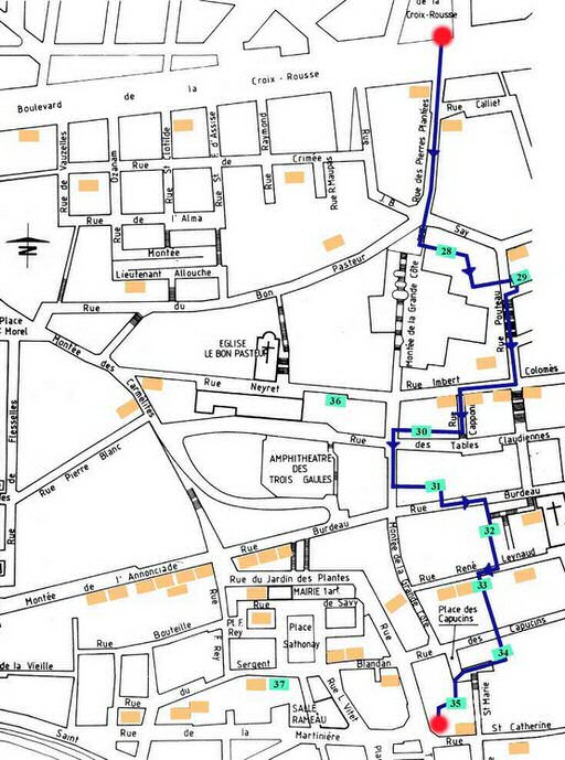 Parcours possible à travers les traboules de Croix Rousse (est) à Lyon.