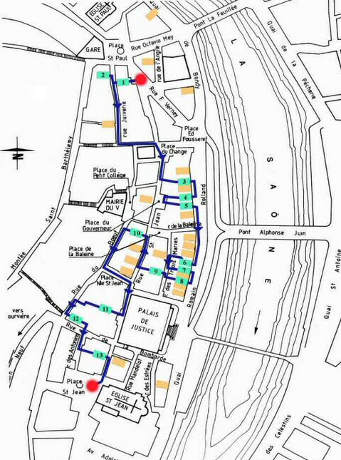 Parcours possible à travers les traboules de Saint Jean dans le Vieux Lyon.