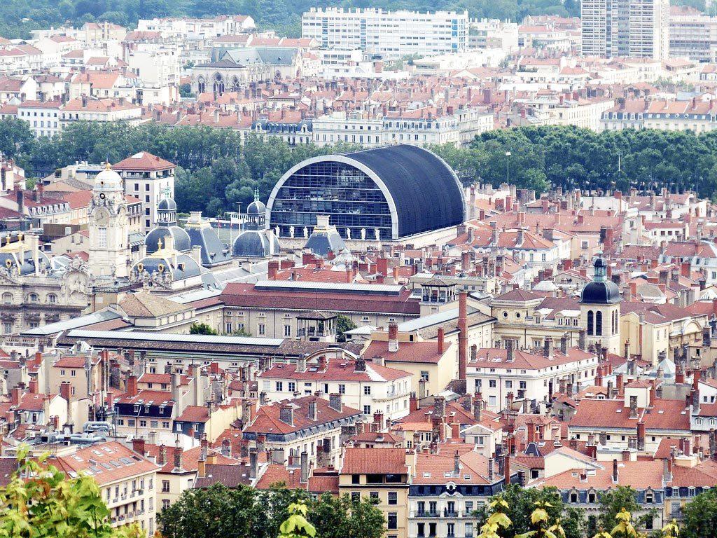 Vue sur le quartier des Terreaux à Lyon depuis Fourvière.