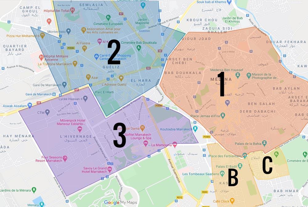 Carte des quartiers de Marrakech : 1. Médina ou vieille ville B. La Casbah, ancien quartier fortifié C. Mellah, ancien quartier juif 2. Quartier de Guéliz, ville nouvelle à l'urbanisme à l'européenne 3. Hivernage, quartier chic avec grands hôtels et boutiques de luxe